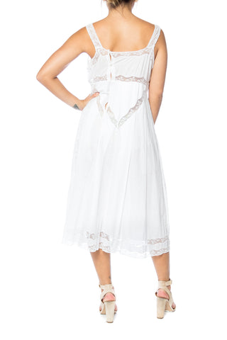 1900S White Organic Cotton & Victorian Lace Chemise Dress
