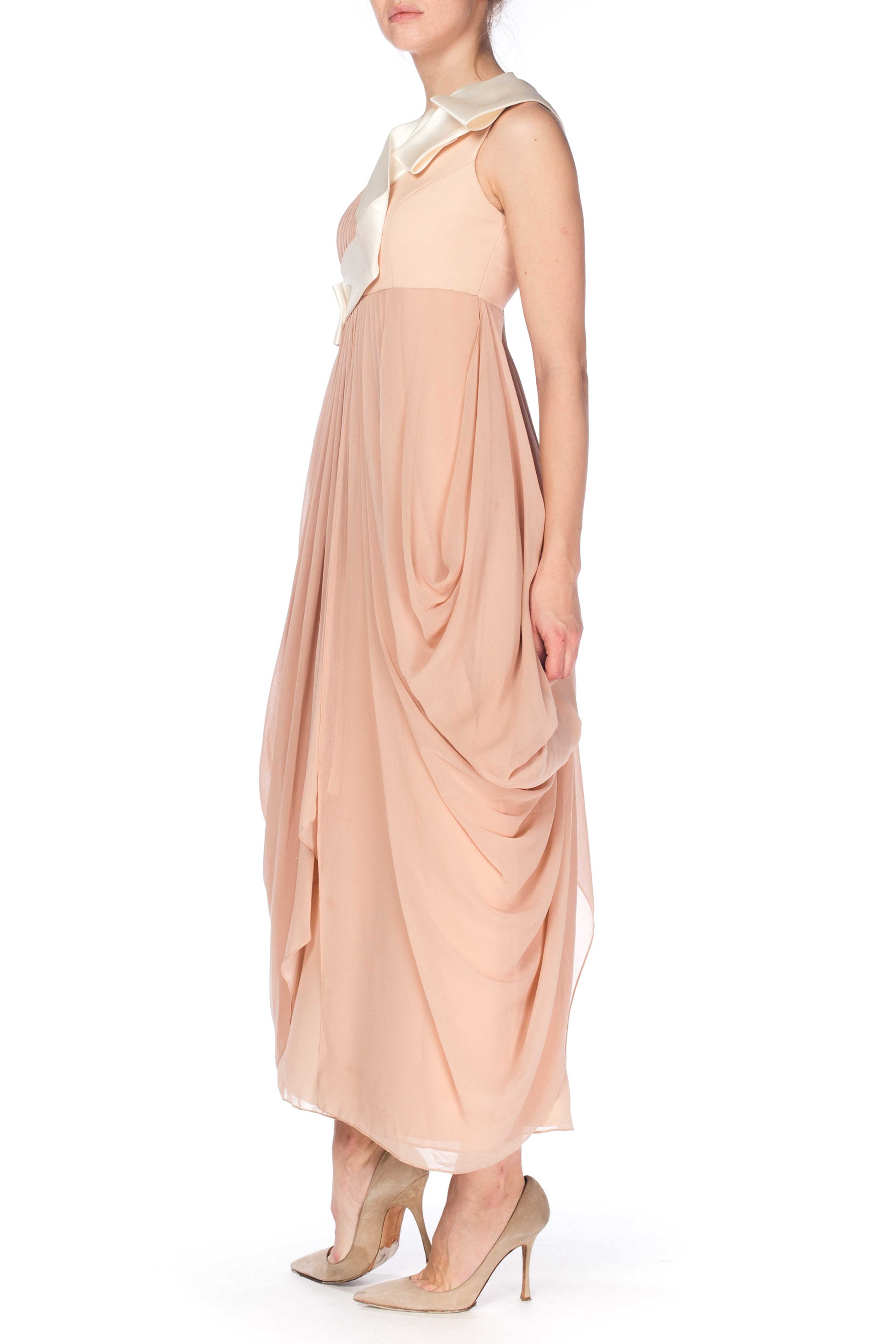 2000S JOHN GALLIANO Style Blush Pink Silk Chiffon Asymmetrically Draped One Shoulder Oragami Gown