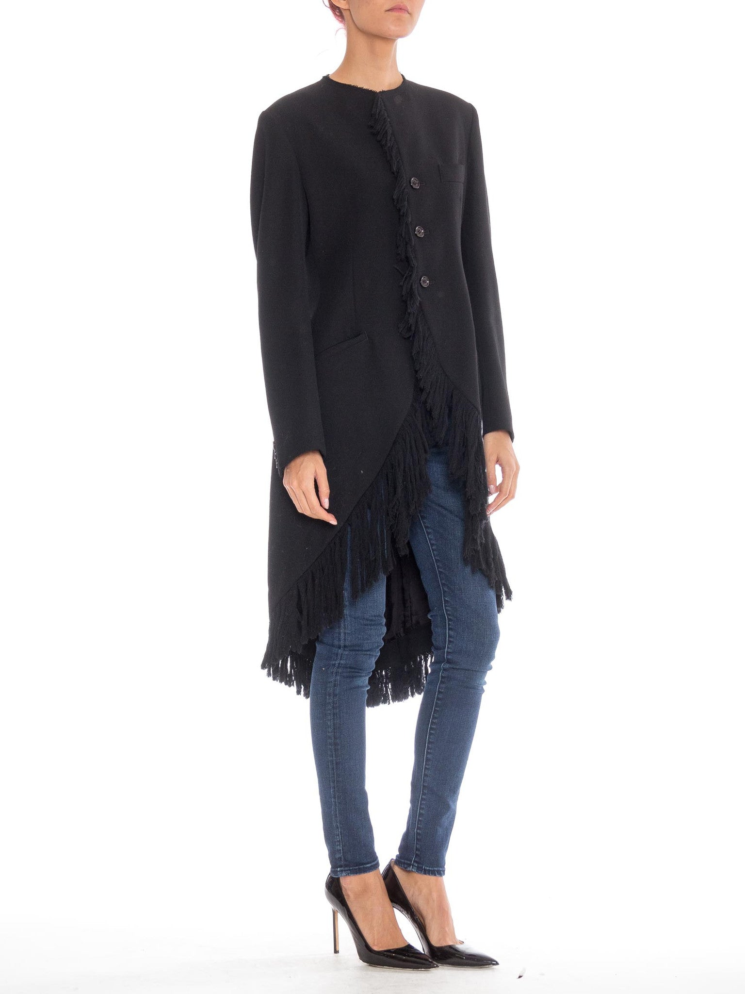 1980S YOHJI YAMAMOTO Black Wool Twill High-Low Tail Coat With Fringe