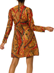 1950s Jacquard Lamé Empire Waist Long Sleeve Short Dress
