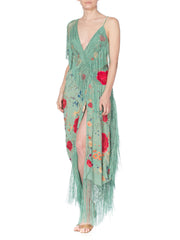 Jade Green Draped Piano Shawl Backless Dress with Fringe Train, 1920s