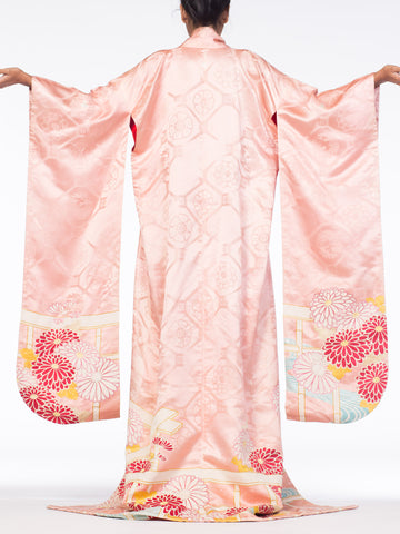1940S Rich Soft Hand Painted Silk With Flowers & Gold Details Kimono