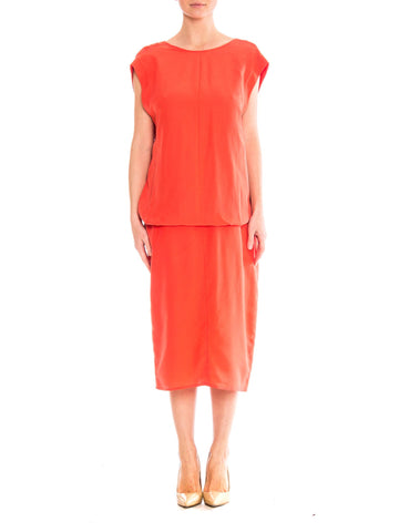 1980 Gianfranco Ferre Coral Light Weight Silk Low Back Minimalist Dress