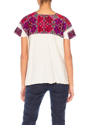 1990S Cotton Hand Embroidred And Cross Stitched Boho Top