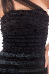 1950s Black Ruffle Bodycon Dress with Sheer Skirt