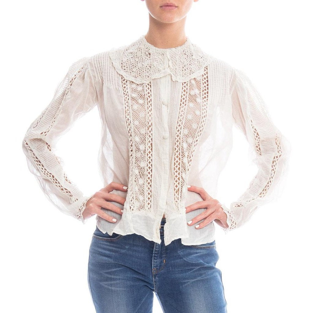 Edwardian White Cotton Voile & Lace Button Front Blouse Made In New York Label