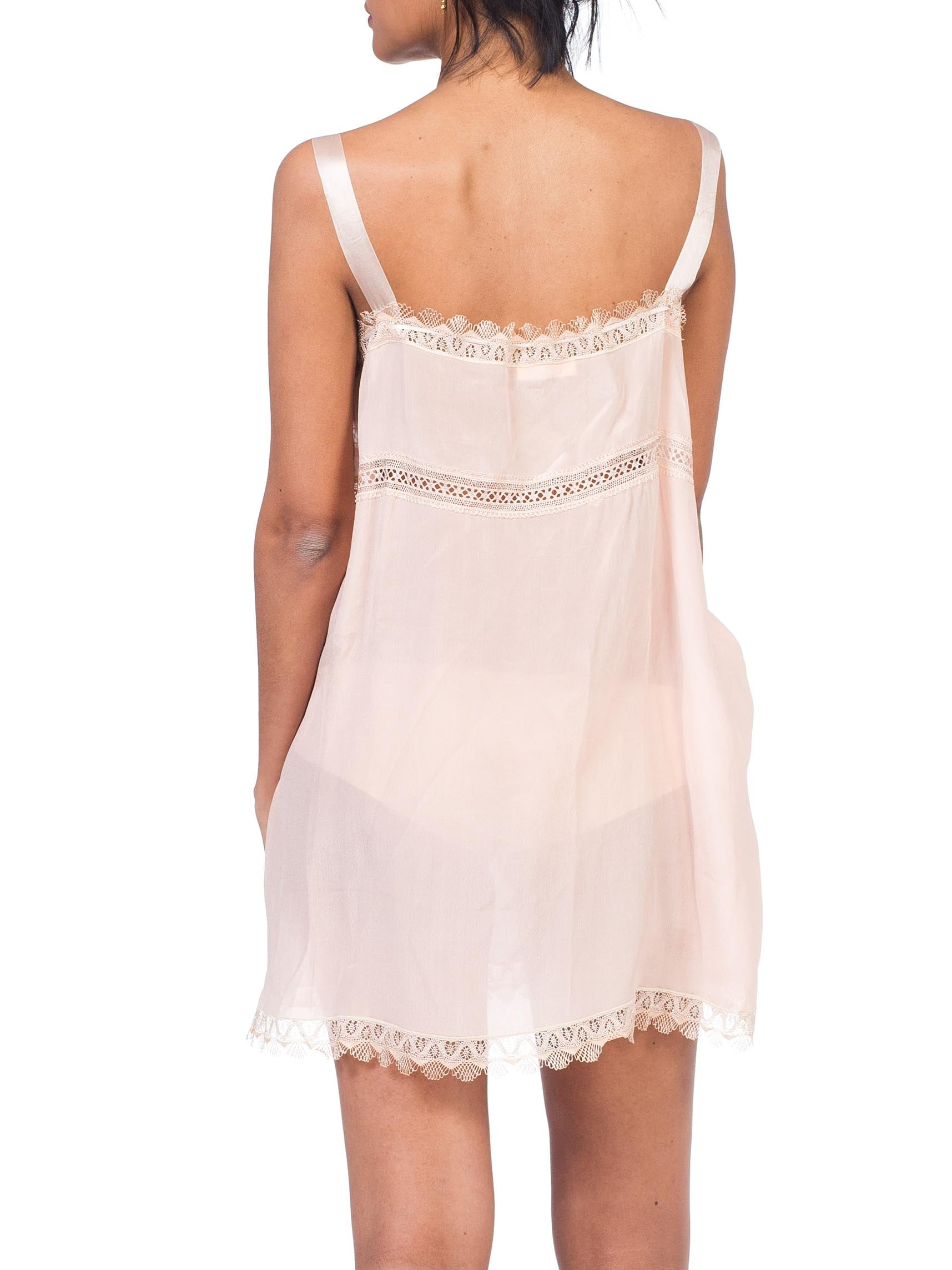1920S  Pink Silk & Lace Cami Slip Negligee
