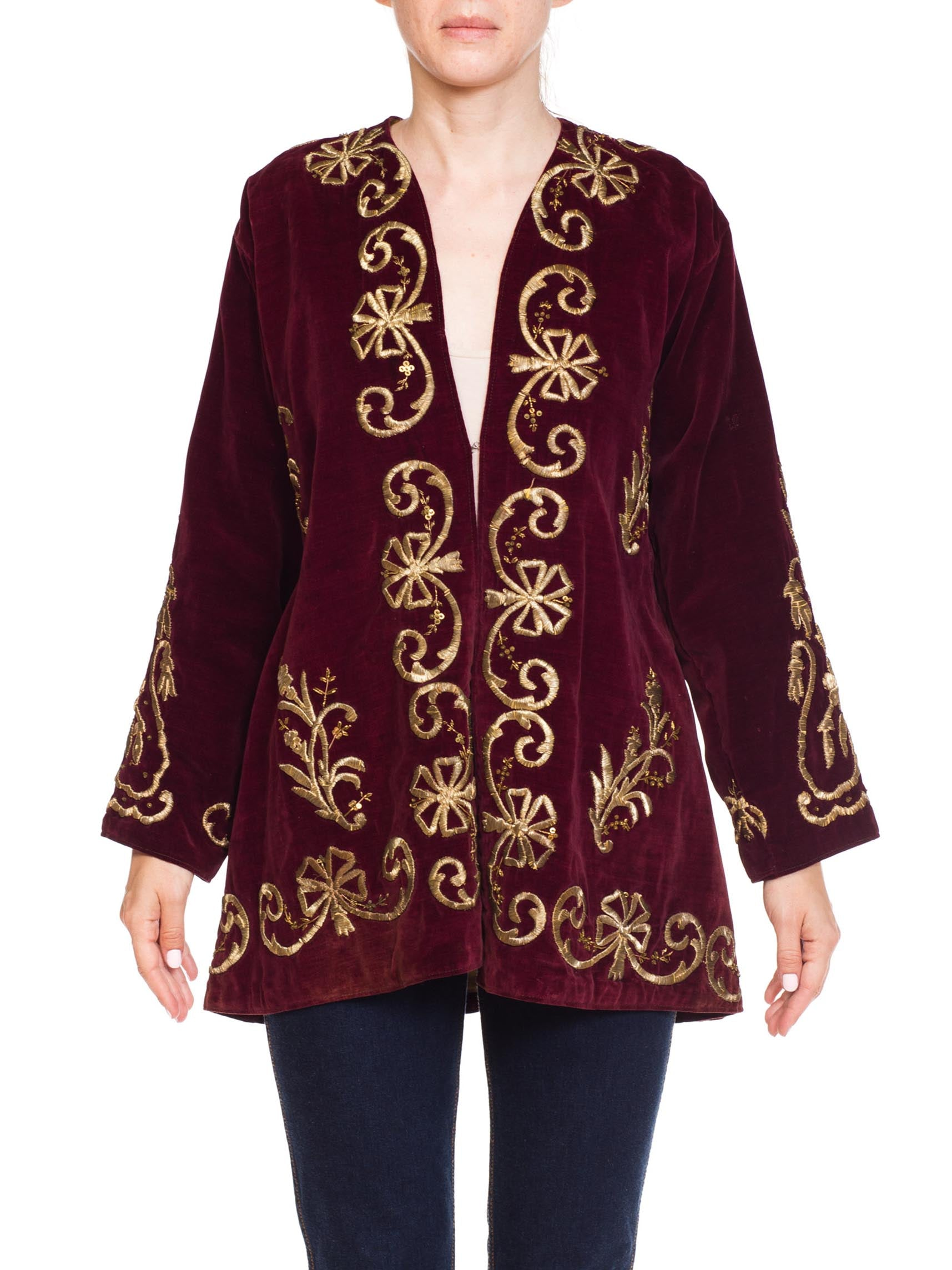 Antique Afganistan Velvet Jacket With Silver Metal Embrordary
