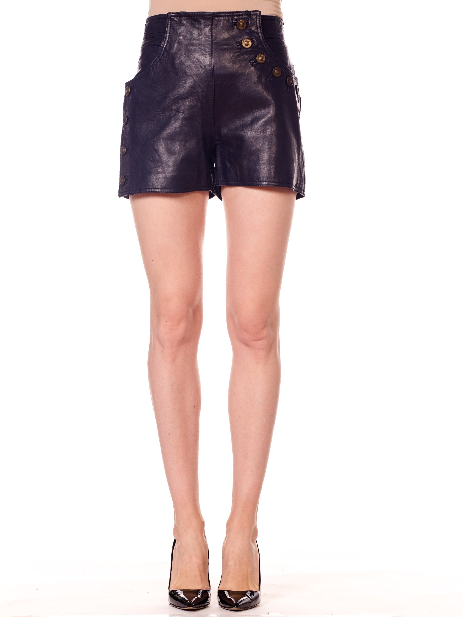 Gianni Versace Couture Leather Shorts with Button Detail