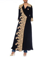 1920s Silk Velvet Robe With Lace