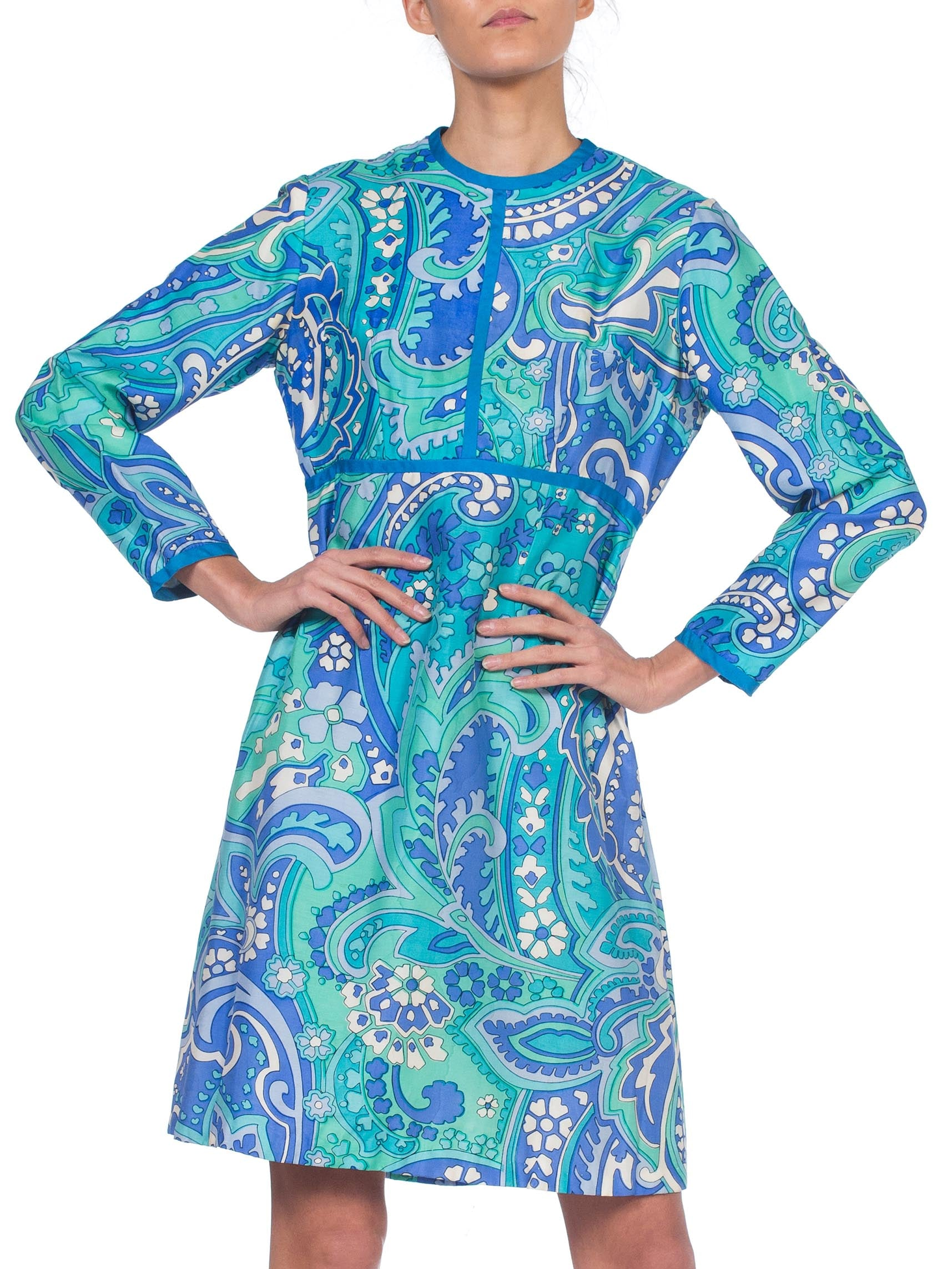 1960S I. MAGNIN Aqua  Psychedelic Silk Empire Waist Mod Long Sleeve Dress