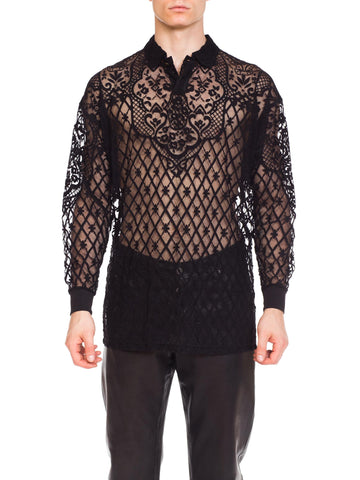 1990s Men's Sheer Gianni Versace Baroque Shirt