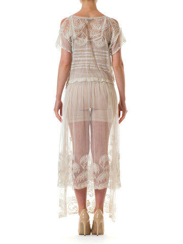 Edwardian Off White Cotton Embroidered Tulle & Lace Cold Shoulder Dress