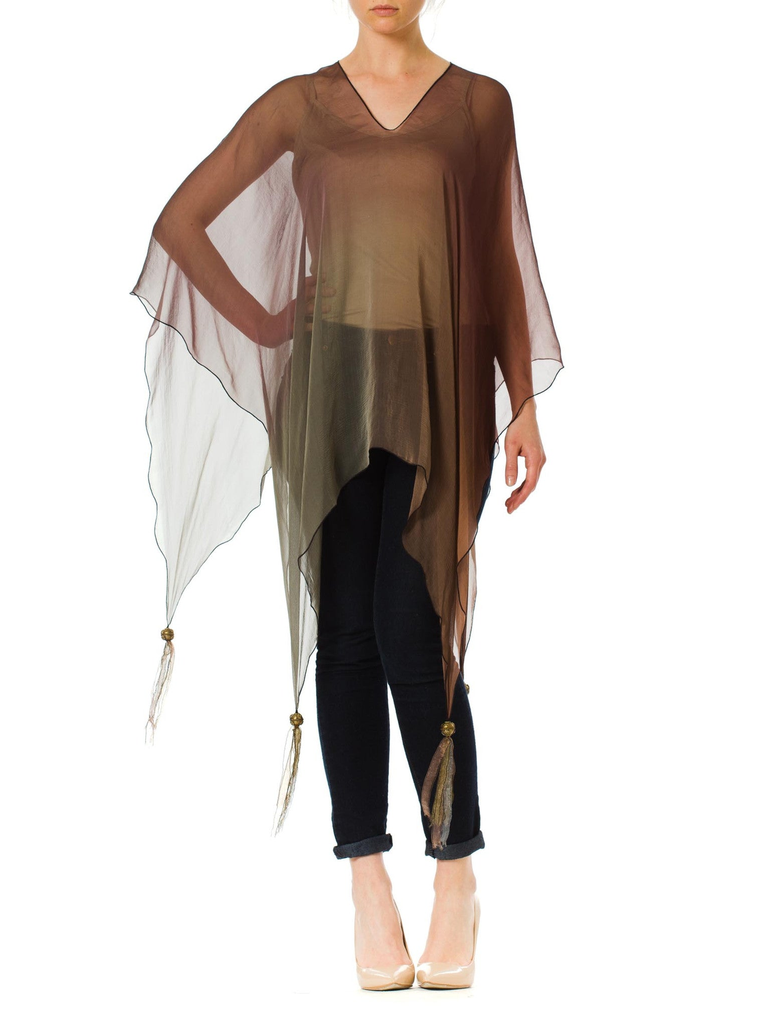 1970s Holly Harp Ombre Silk Sheer Poncho with Tassels