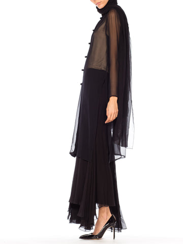 1990S Giorgio Armani Black Silk Chiffon Sheer Mandarin Tunic And Pants Ensemble