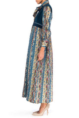 1970s Victor Costa Maxi Dress with Velvet and Quilted Skirt