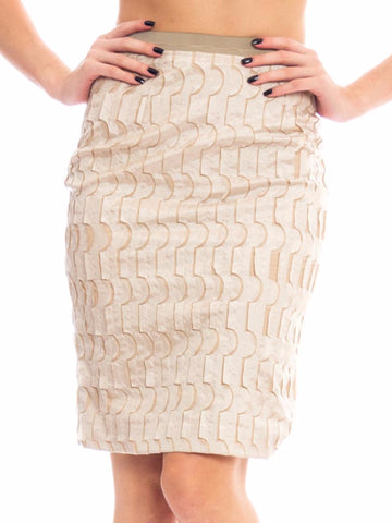 1990s Beige Silk Geometric Patterned Skirt
