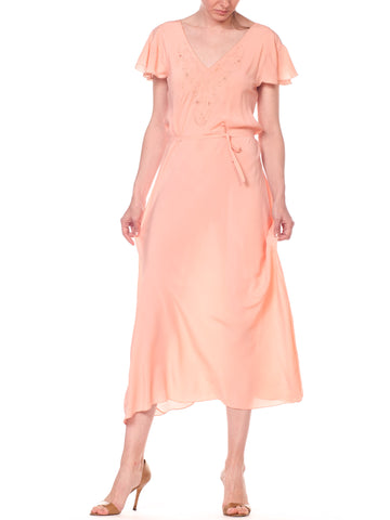 1930S Peach Bias Cut Silk Crepe De Chine Flutter Sleeve Couture Hand Sewn Negligee With Floral Embroidery & Belt