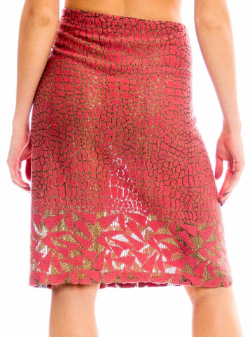 1920s Art Deco Gold Lame Geometric Print Skirt