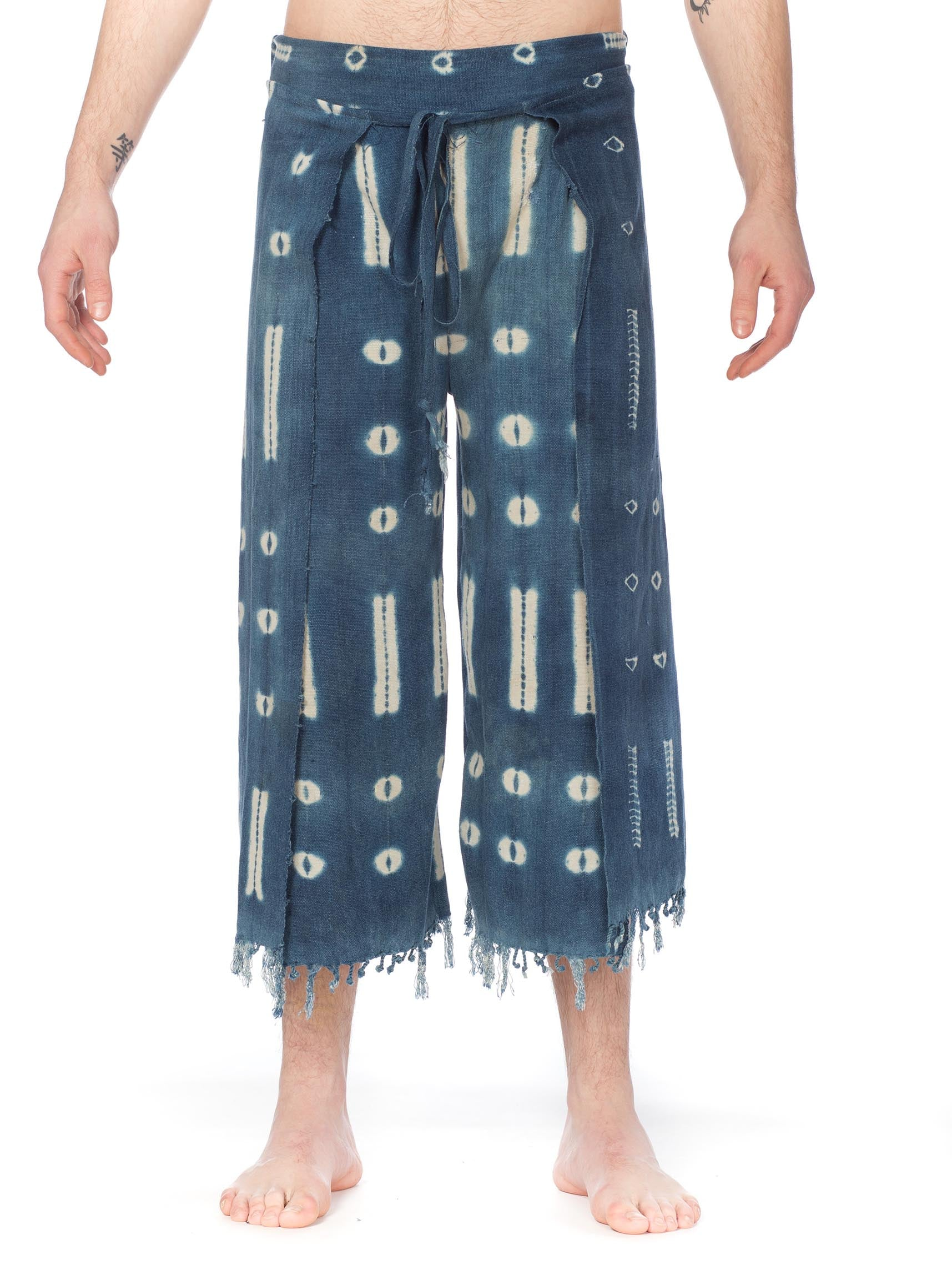 Handwoven Tie-dyed African Indigo Wrapped Pants