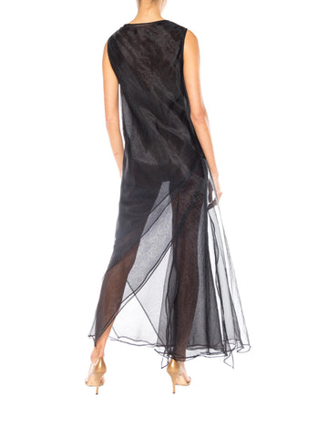 1990S Jil Sander Black Organza Sheer Layered Dress