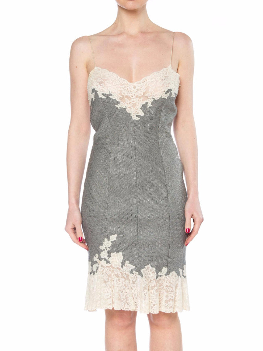 John Galliano Christian Dior Harringbone and White Lace Cocktail Dress
