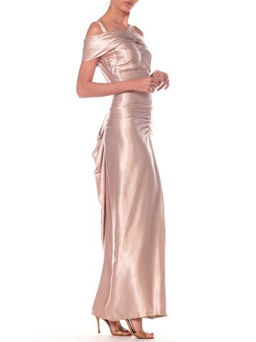 1940S Oyster Grey Acetate Satin Draped Evening Gown With Back Bustle Detail