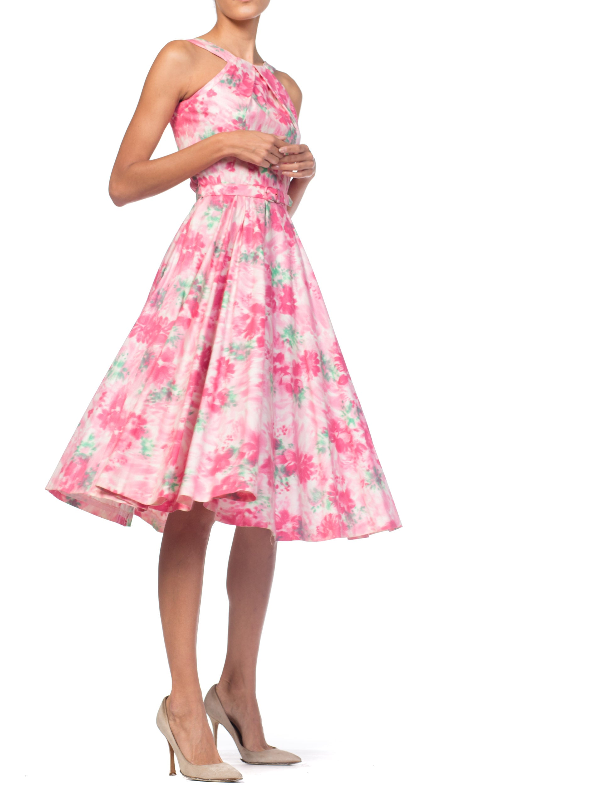 1950S Cotton Pastel Pink Watercolor Floral Circle Skirt Dress
