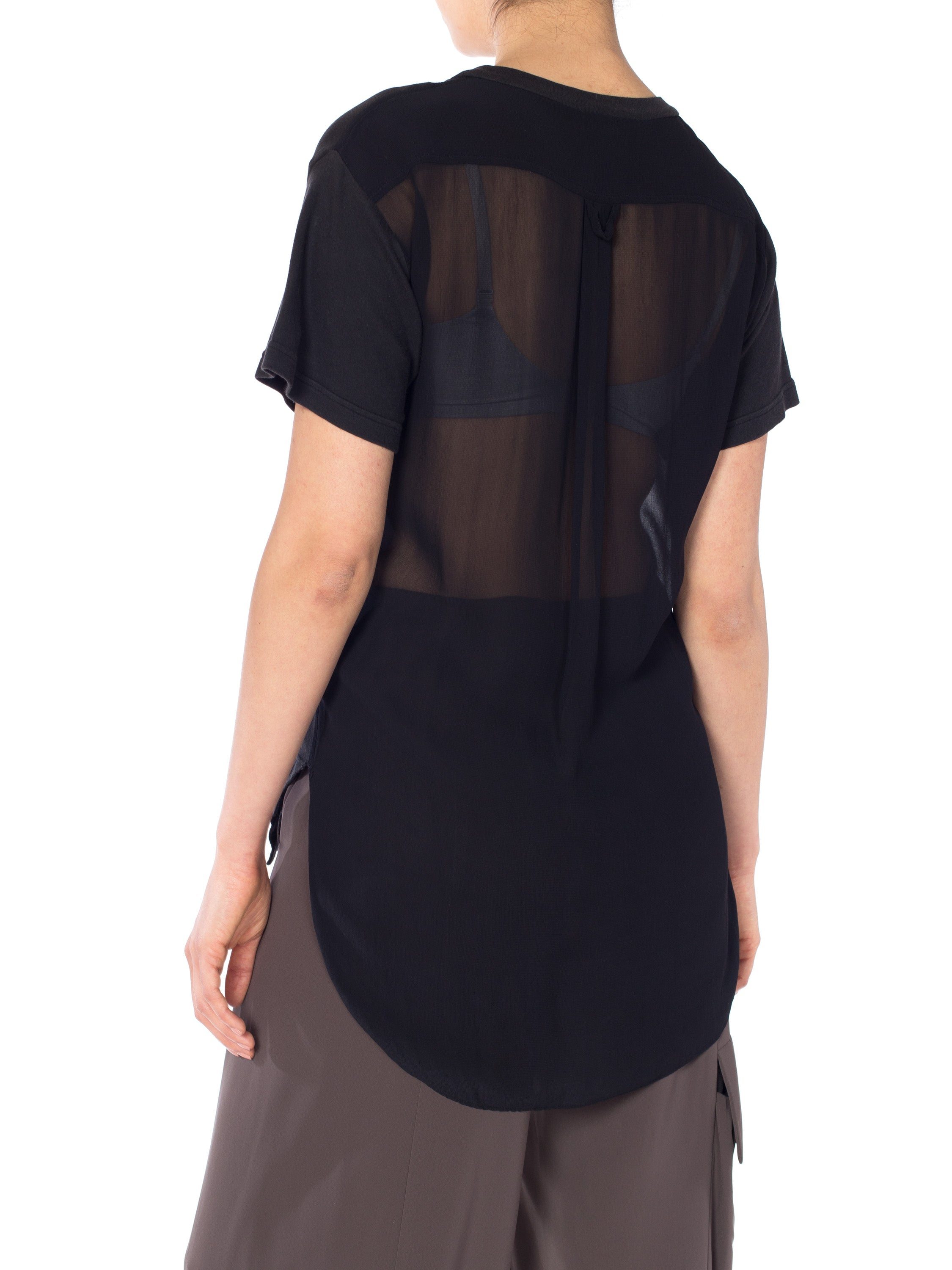 1990S MOSCHINO Black Cotton T-Shirt With Sheer Chiffon Back