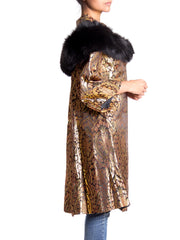 1960s Gold Jacquard A-Line Jacket with Black Fur Shawl