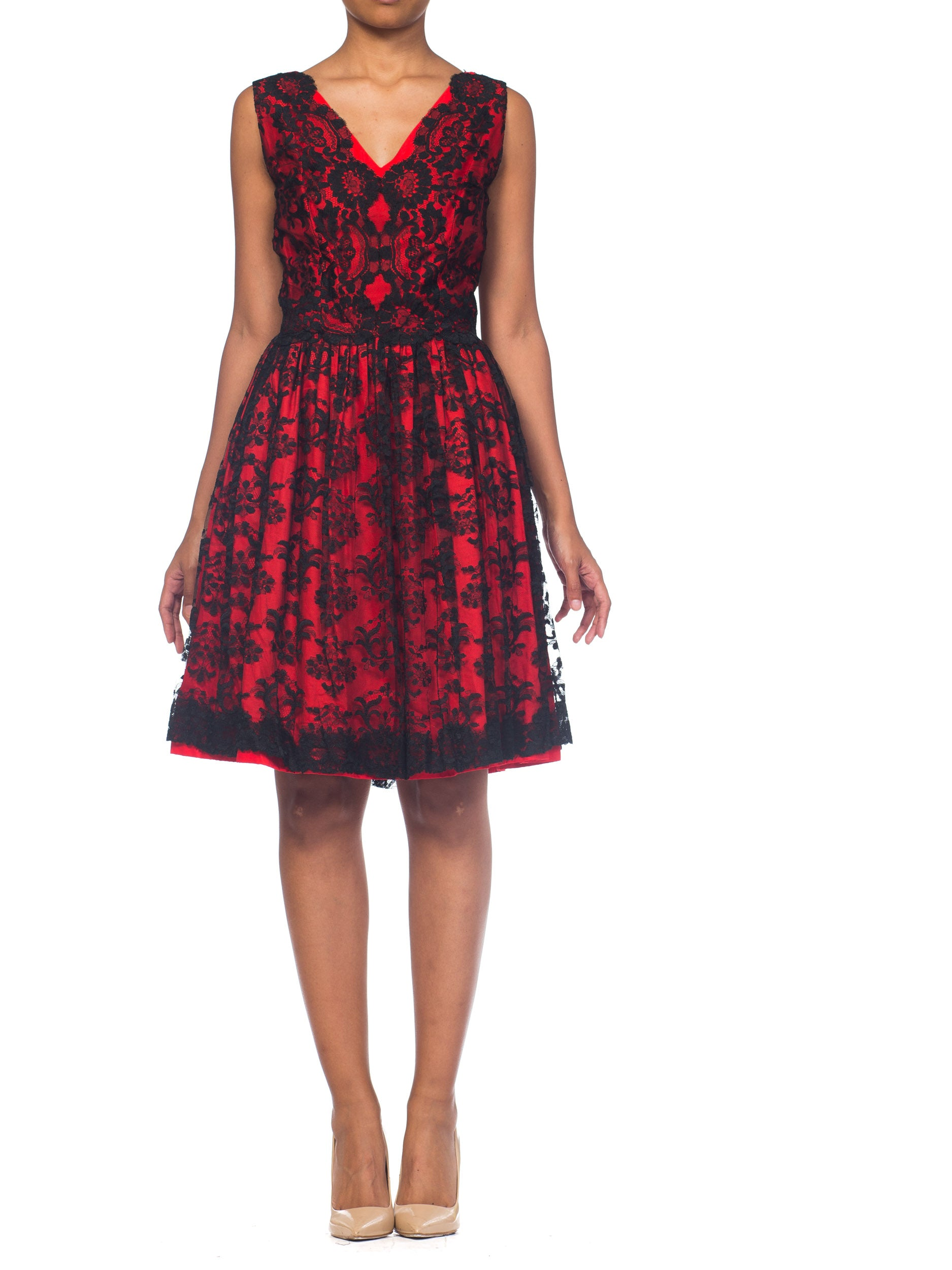 1950S Black & Red Cotton Sateen Chantilly Lace  Cocktail Dress