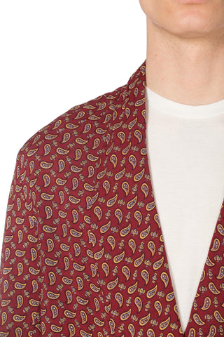 1950S Burgundy Paisley Rayon Robe Made In England