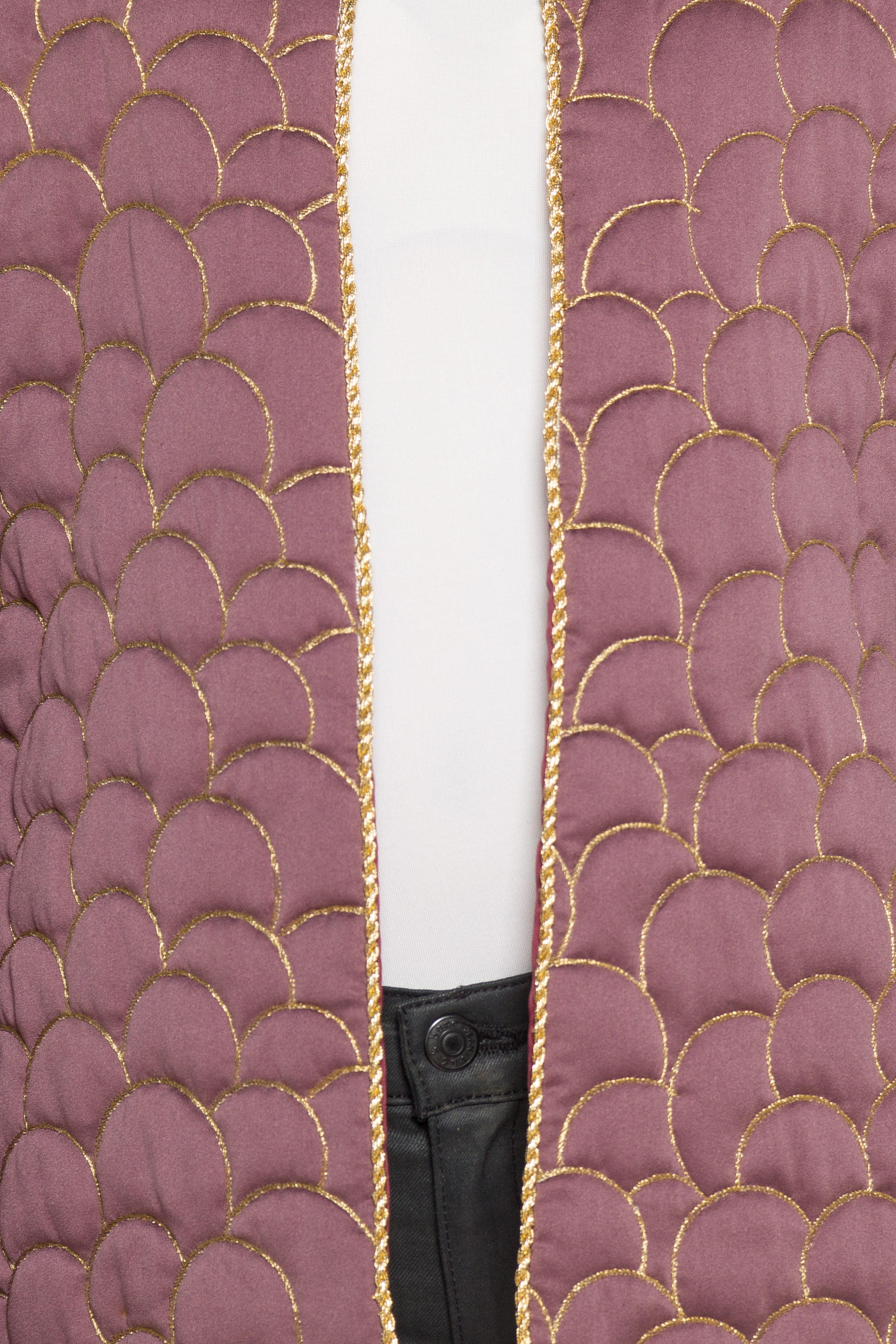 1970S Don Sayres Rayon Sateen Disco Era Jacket With Gold Metallic Quilting