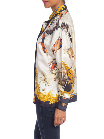 1990S  GIANNI VERSACE Silk Native American Buffalo Bill Shirt Sz 38