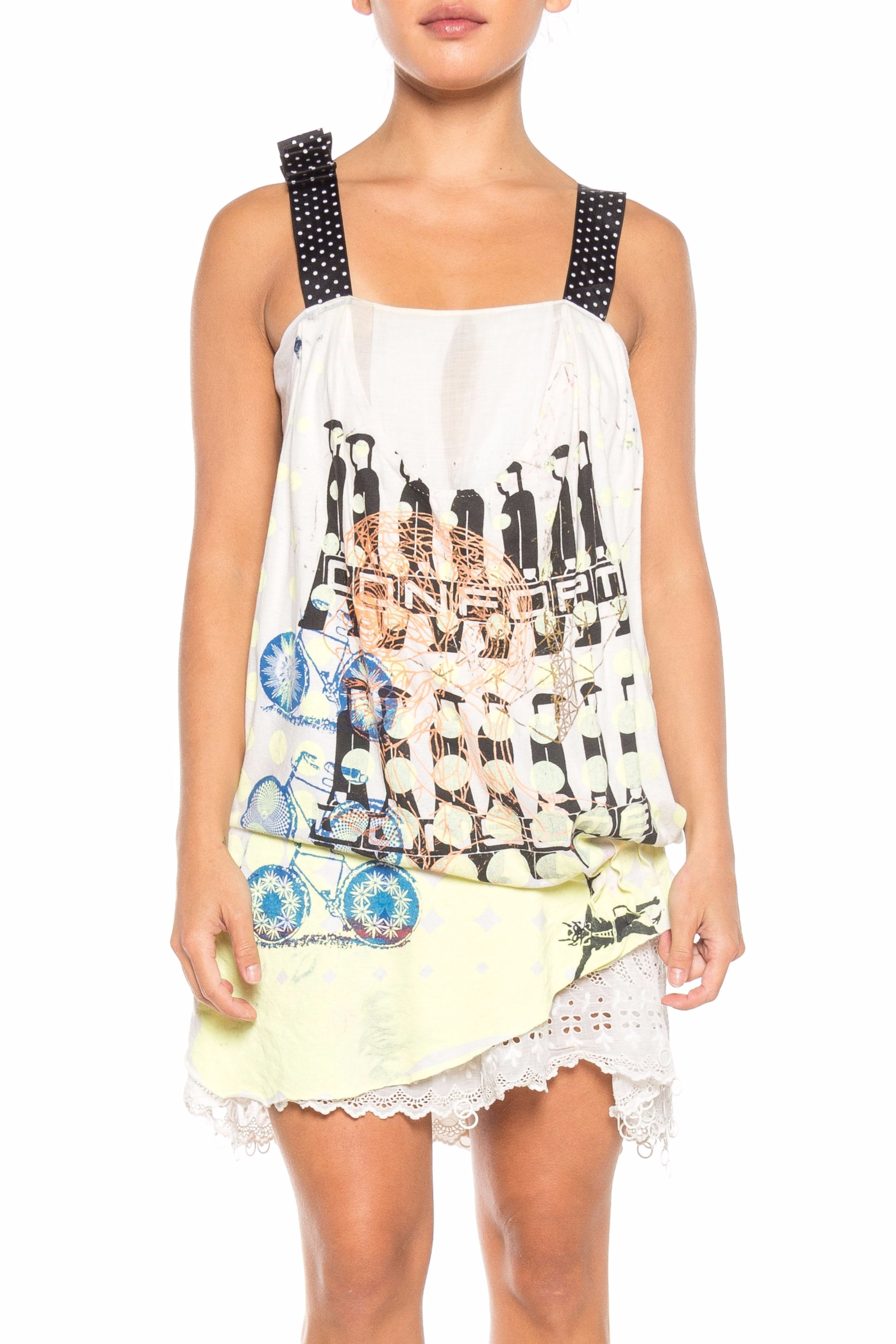 MORPHEW COLLECTION Black & White Cotton Jersey Recycled Punk T-Shirt Party Dress With Victorian Lace Beading
