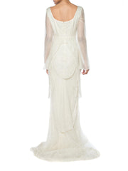 1990s Alberta Ferretti trained Silk Gown Beaded with Crystals