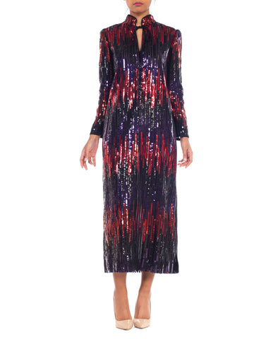 1970s Sequin Disco Stripe Dress
