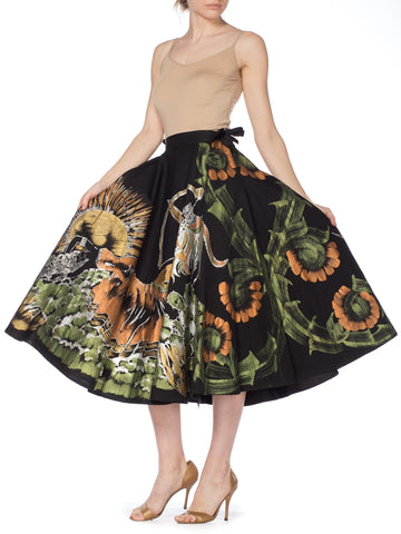 Hand Painted Circle Skirt With Native American Motif