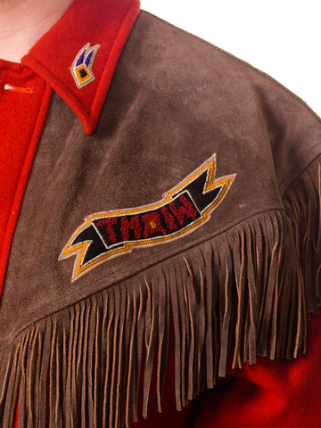 Kansai Yamamoto Burnt Orange Wool JAcket With LEather Fringe Details and Embroidery