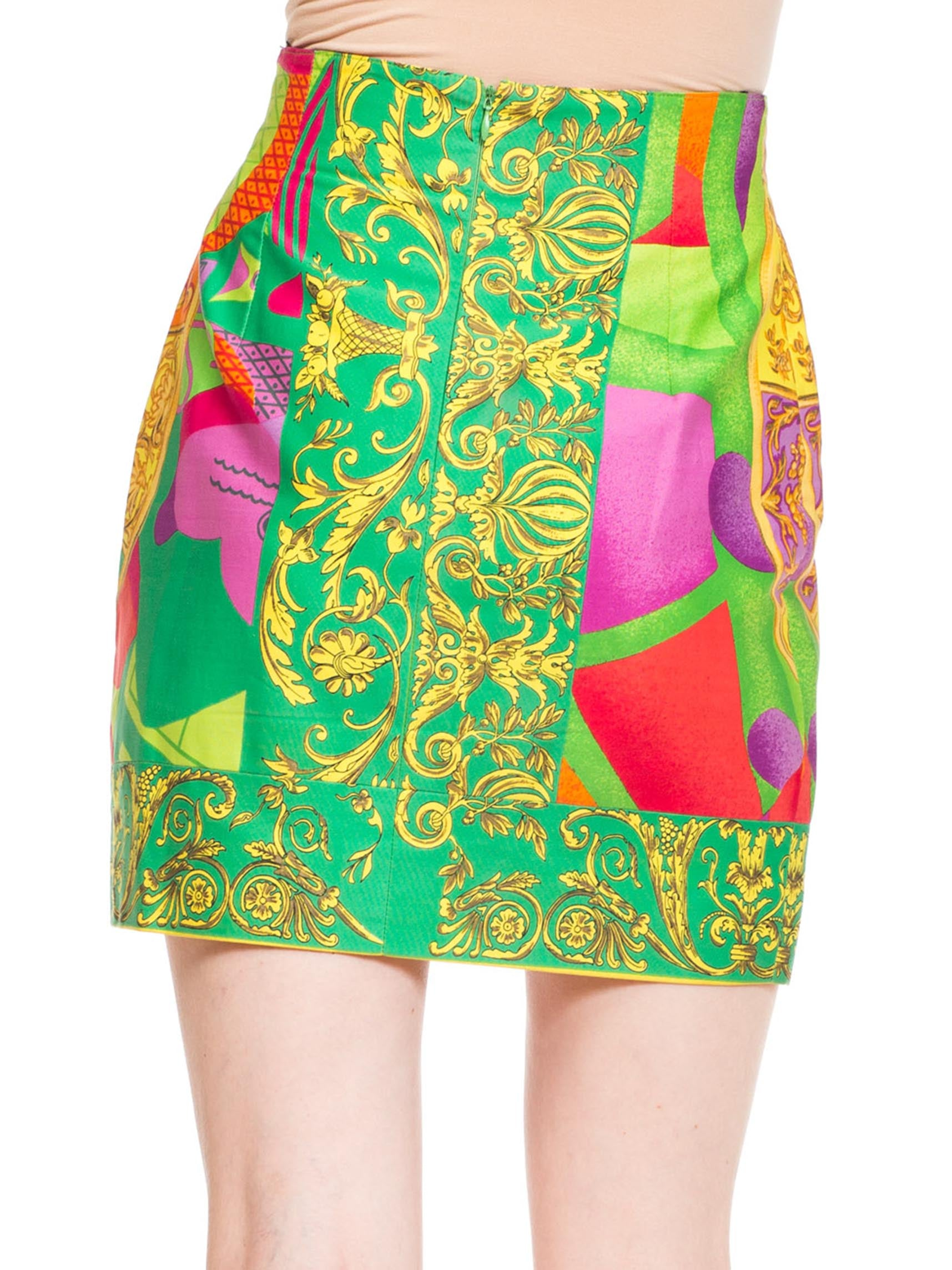1990S GIANNI VERSACE Bright Multicolor Cotton Baroque Printed High-Waisted Mini Skirt