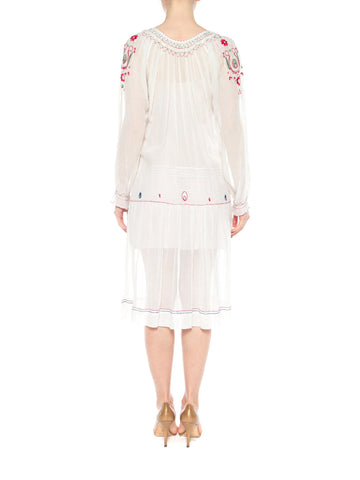 1920S White Cotton Voile Hand Embroidered Long Sleeve Romanian Homespun Dress