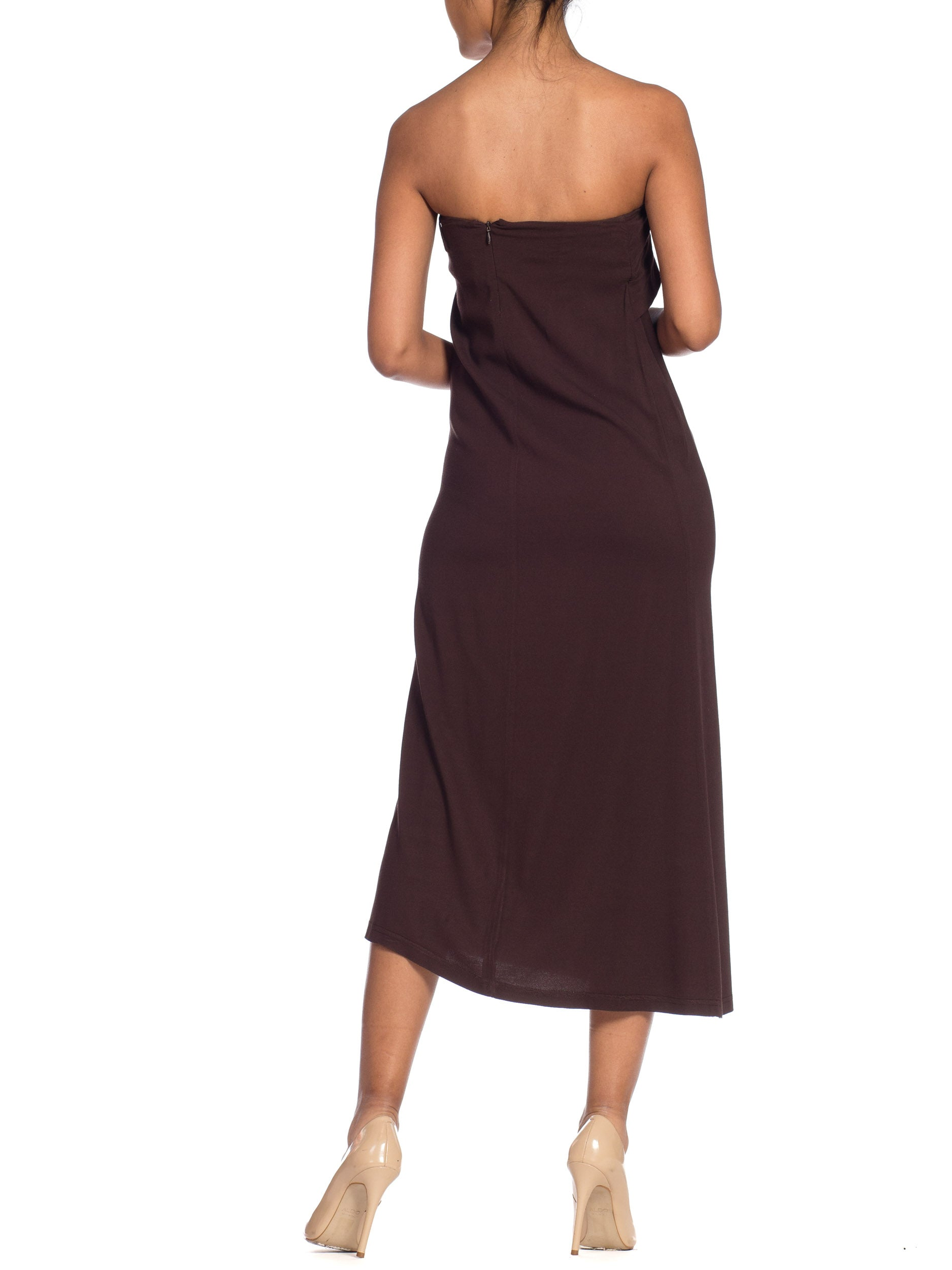 1990S Ann Demeulemeester Chocolate Brown Silk Stretch Minimal Strapless Dress | New York City | 24hrs- Free Return policy | US Free Shipping | Pre-owned Clothing | Sustainable fashion | Women Vintage Clothing | Vintage Clothing Store | Vintage Dresses | Strapless Dress