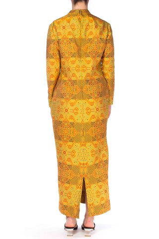 1960S ADELE SIMPSON Yellow Silk Blend Jacquard Chinese Inspired Long Sleeve Dress
