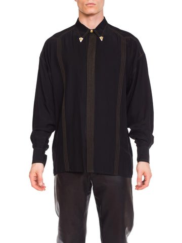1990s Versace Istante Silk Shirt with Gold Stitching and Western Detalis