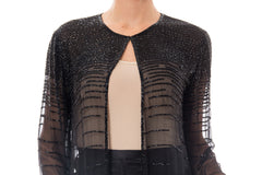 1970s Black Sheer Chiffon Beaded Open Cardigan Top