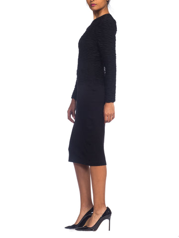1980S Louis Feraud Black Wool Jersey Ruched Sweater Dress