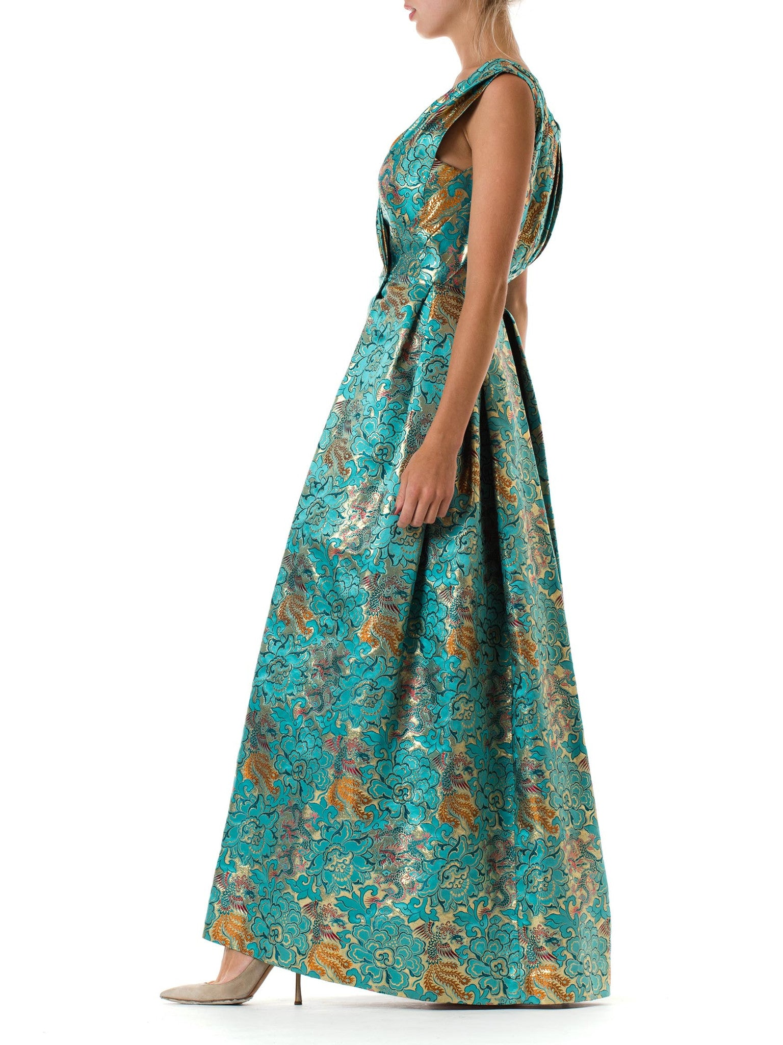 Morphew Collection Teal & Gold Asian Dragon And Phoenix Jacquard Reversible Gown Made Of 1960S Silk Lamé Fabric