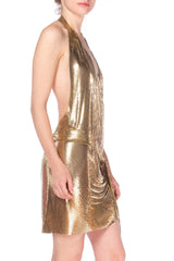 Morphew Backless Gold Metal Mesh Wrap Halter Dress
