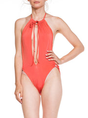 1970s Cut Out Sexy Halter Swinsuit