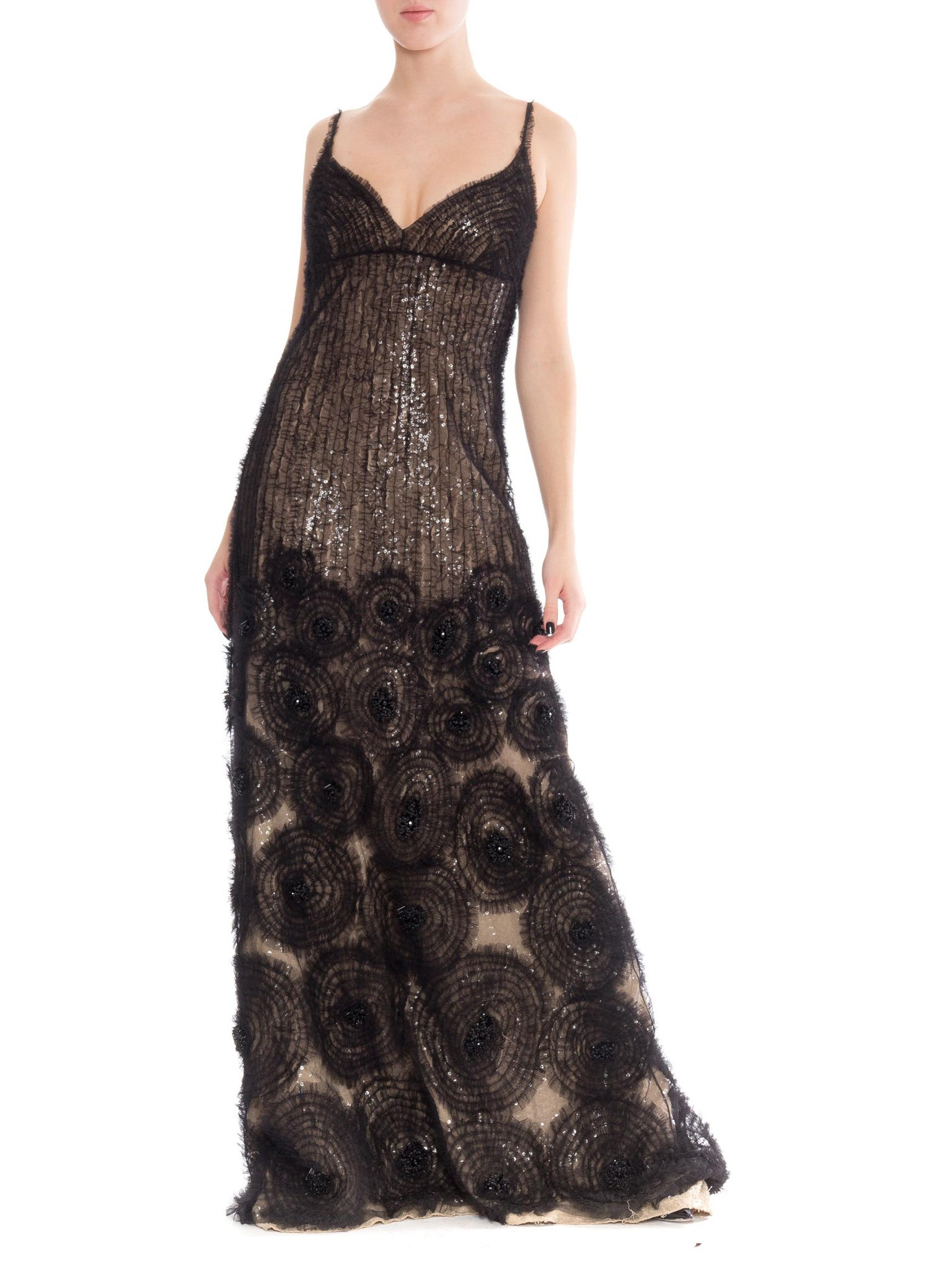 Sheer Illusion Naeem Khan Beaded Tulle Gown with Train – MORPHEW